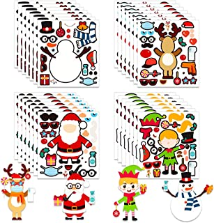 FaCraft Christmas Stickers for Kids, 24 Sheet Christmas Party Game Craft,Cute Make Your Own Christmas Stickers DIY Snowman...