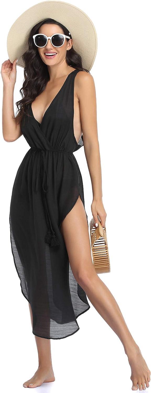 Ekouaer Women's Sexy Swimsuit Cover Ups Sleeveless Side Split Cover Up Dress Beach Bikini Coverups