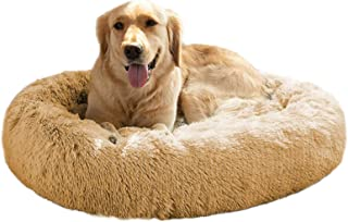 MFOX Calming Dog Bed (L/XL/XXL/XXXL) for Medium and Large Dogs Comfortable Pet Bed Faux Fur Donut Cuddler Up to 25/35/55/100lbs, Self-Warming and Washable(Size 23