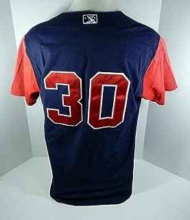 2010 Gwinnett Braves Freddie Freeman #30 Game Used Blue Red Jersey BRAVE0387 - MLB Game Used Jerseys
