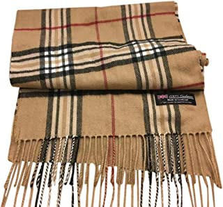 100% Authentic Real Cashmere Plaid Scarf - Unisex (Men/Women) - 12 x 72 long scarf - Birthday Gift/