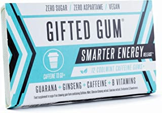 GIFTED GUM Smarter Energy | 4 Packs | 48 Gum Pieces | Caffeine Chewing Gum with Guarana, Ginseng, Vitamins B6 & B12 | Sugar-Free | Calorie-Free | Fast Acting | Free Delivery