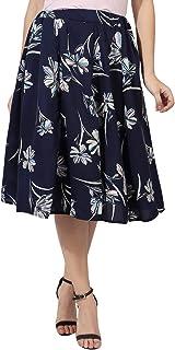 Grace Diva Digital Rose Print Mid Calf Length Women Panel Polyester Skirt