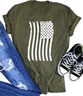 American Flag Shirt Women Stripes and Stars USA Patriotic T Shirts July 4th Graphic Tee Short Sleeve Tops