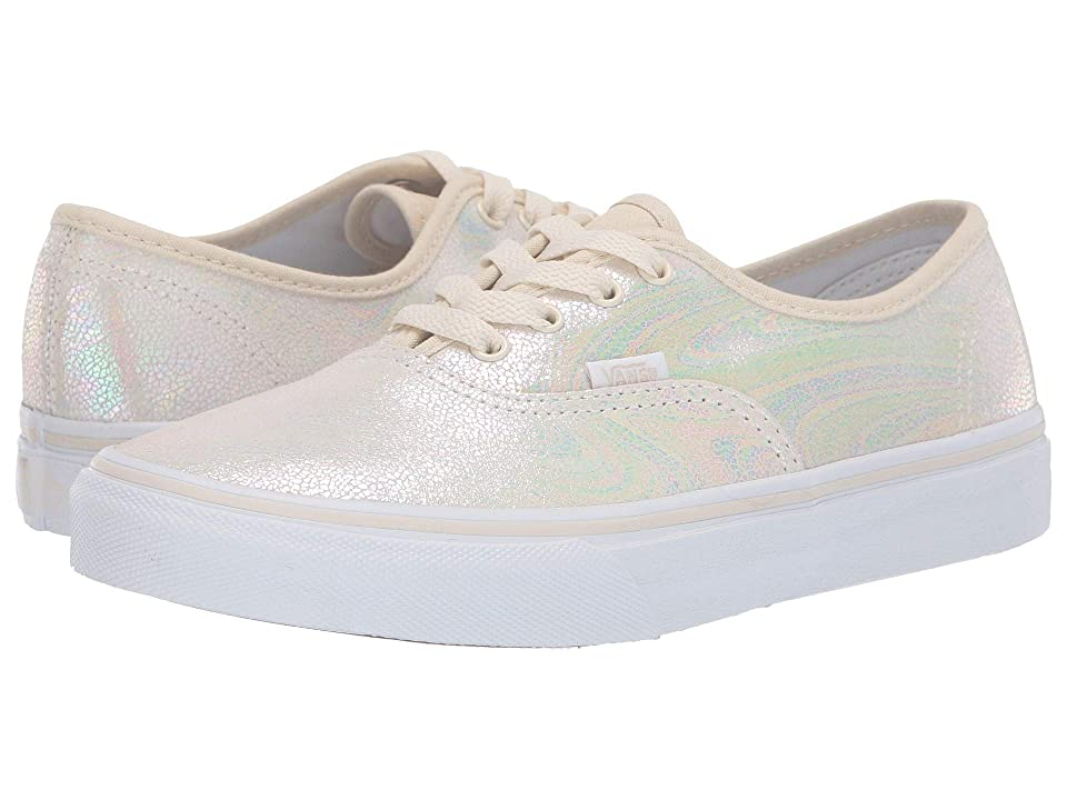 Vans Kids Authentic (Little Kid/Big Kid) ((Metallic Oil Slick) True White/Turtledove) Girls Shoes