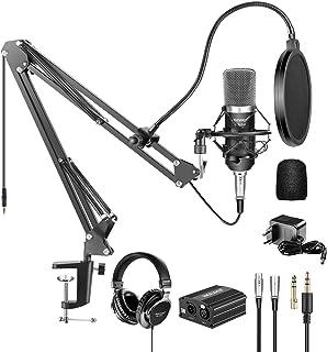 نایسر NW-700 Pro کولر میکروفون و مانیتور کانن مانیتور با منبع تغذیه Phantom 48V، NW-35 پایه نوک انگشت قیچی شومینه، کوه شوک و فیلتر پاپ برای ضبط صدای خانه استودیو (سیاه)
