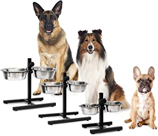 Pets Empire Stainless Steel Feeding Bowl Set of 2 with Height-Adjustable Stand, Dog Feeding Station with 2 Removable Bowls...