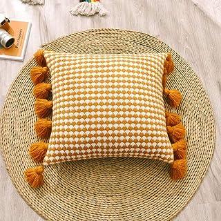LKHTR Funda de Cojín Funda de Almohada Tejida a Ganchillo a Mano con Borlas para el sofá Cama del Hogar Sala de Estar 45x45cm