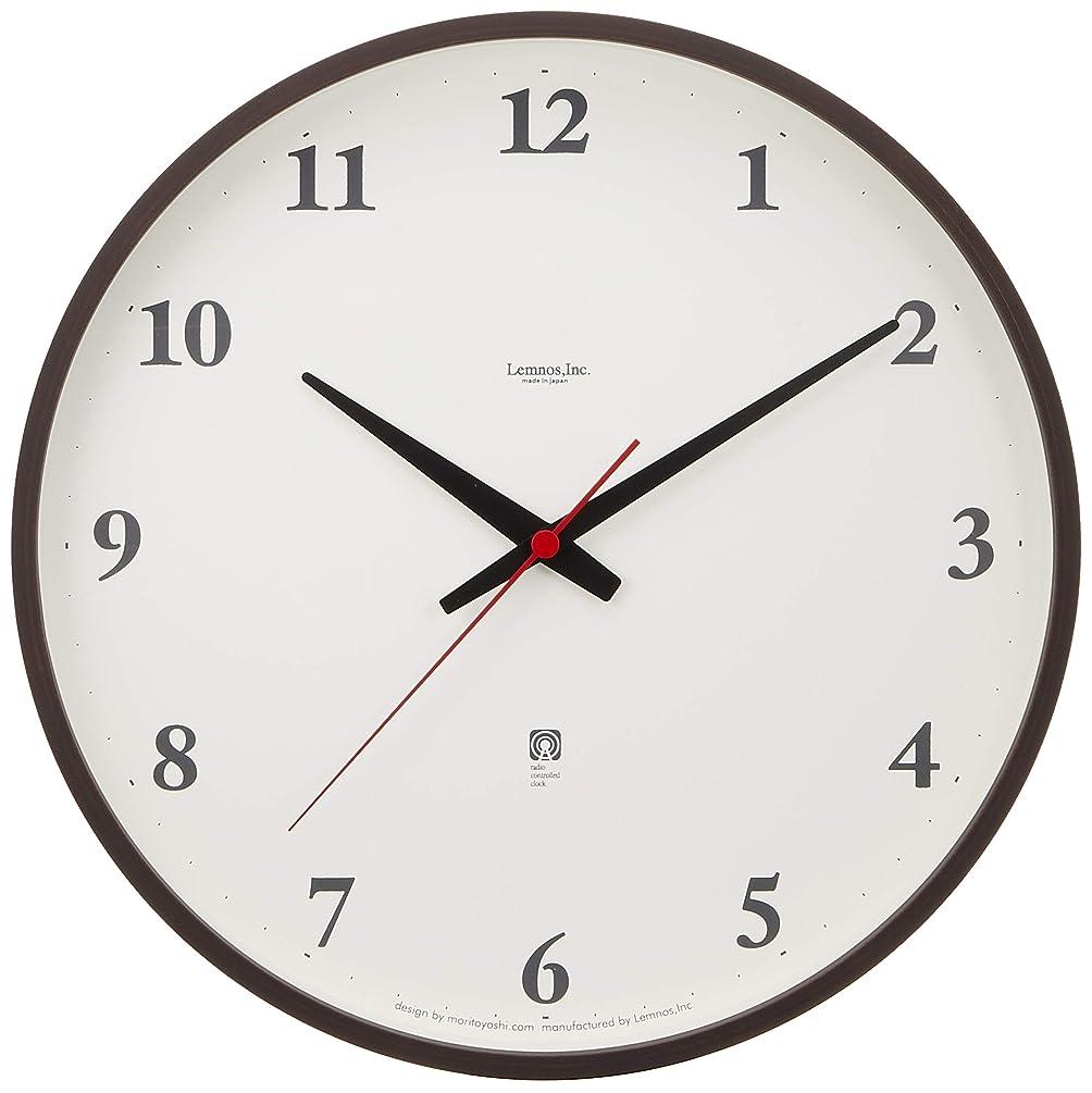 トレイキノコ毒Lemnos Plywood clock 電波時計 ブラウン LC05-01W BW