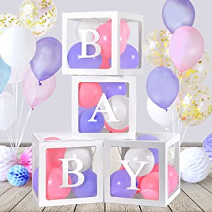 EZIGO Baby Shower Decorations Balloon Boxes for Boy Girl, 4PCS Clear Baby Block Boxes with 30PCS Baby Letters Transparent Balloon Boxes Gender Reveal Party Decoration Birthday Wedding Bridal Shower Backdrop