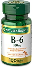 Nature's Bounty Vitamin B-6 Supplement, Supports Metabolism and Nervous System Health, 100mg, 100 Tablets