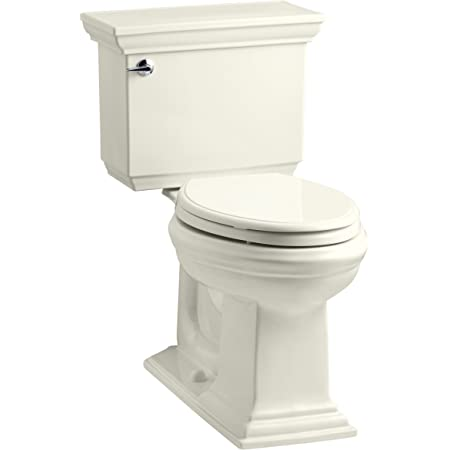 Kohler K-3819-96 Memoirs Comfort Height Two-Piece Elongated 1.6 gpf Toilet with Stately Design, Biscuit