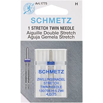 Euro-Notions Twin Stretch Machine Needle, 4/75-Inch