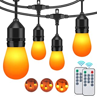 48FT Flickering Flame String Lights Outdoor, 3 Modes Commercial Waterproof Dimmable Patio Lights with Remote, 15+3 Shatterproof LED Bulb Hanging Light for Christmas Party Halloween Deck