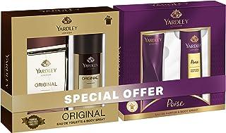 Yardley London perfumed gift set, Fresh fragrance for both women and men, Eau de Toilette 100ml + Body Spray 150ml (Origin...