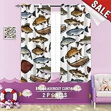 Big datastore home Custom Made Curtain, Anchovy Animal Aqua Aquarium Backdrop Background bass Blue carp Catfish cod 63 x 63 inch Grommet Children's Small Curtains