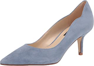 Nine West Women's Abaline Pump, Medium Blue Suede, 7.5