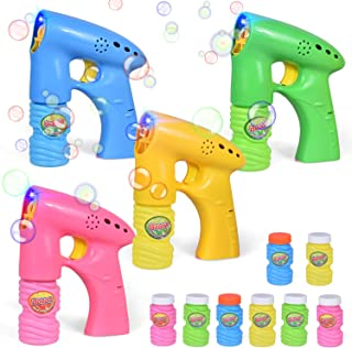4 Pack Bubble Guns with 8 Bubble Solution, LED Bubble Blaster, Bubble Machine for Kids Birthday Party, Outdoor Toys, Halloween Party Favors