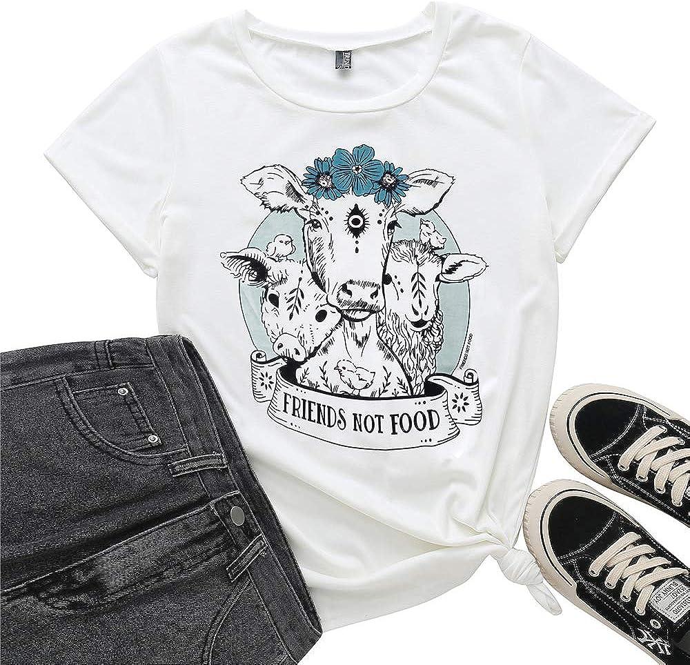 TrendiMax Friends Not Food T-Shirt Women Vegan Shirt Short Sleeve Funny Animal Graphic Summer Tee Tops
