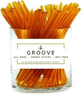 Groove Wildflower Honey Sticks | Local - Kosher Certified - All-Natural - Honey Stix | 50 Pack | Honey Sticks For Tea, Wed...
