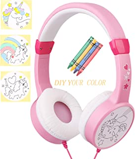 Over Ear Girls Headphones, DIY Color Unicorn Earphones with 85dB Volume Limited and 3.5mm Jack for iPad Cellphones Computer MP3/4 Kindle,Children Headset for School,Birthday Gifts(Pink)