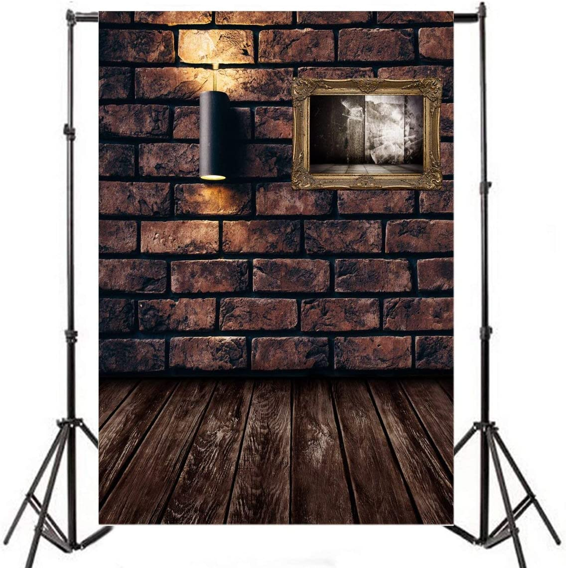 12x8FT Photography Backdrop Happy Halloween Backdrop Vintage Grunge Castle Rough Brick Wall Wood Floor Countryside Barn Dirty Prison Collapsible Photo Portrait Vinyl Studio Video Props