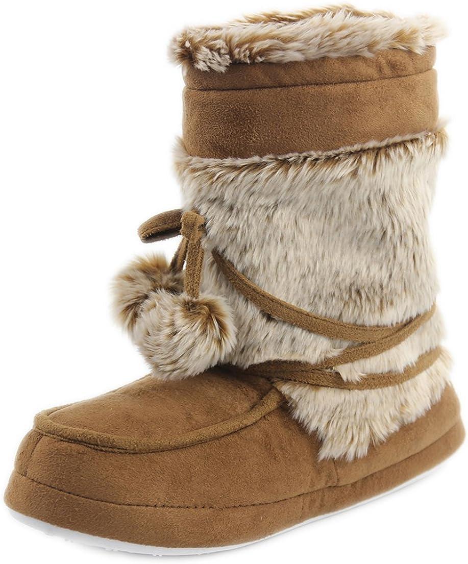 Forfoot Women's Slippers Cozy Fleece House Indoor Slipper Boots