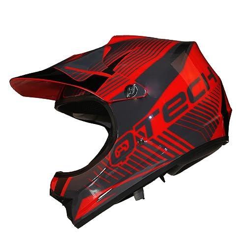 Casque de Moto pour Enfant Motocross Cross Off-Road Noir Mat ATV Quad - Rouge - S