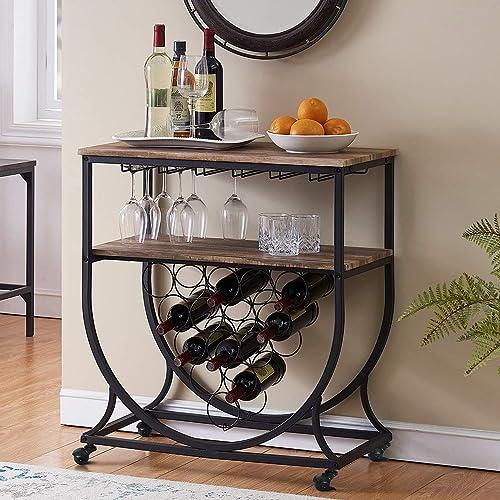 wholesale O&K online sale FURNITURE Industrial 2021 Bar Cart on Wheels for Home, Wine Rack Cart with Glass Holder, Vintage Brown online sale