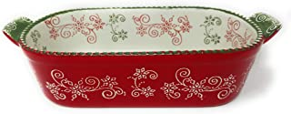 Temp-tations 2 Qt Squoval Baker, DISH ONLY, Casserole Dish Replacement (Floral Lace Festive)