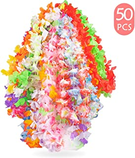 Funmo - Hawaii Blumen Halskette, Hawaii Kette, 50 Stück Hawaii Blumenketten für Hawaii Party Deko
