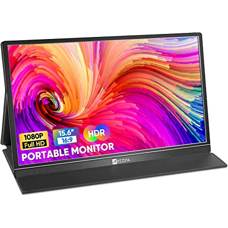 Arzopa Portable Monitor, 15.6'' FHD HDR 1080P 100%SRGB Portable Laptop Monitor USB C HDMI Gaming External Monitor IPS Eye Care Portable Display w/Smart Cover & Dual Speakers, for PC Phone Mac Xbox PS4