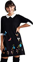 YUMI Embroidered Butterfly Knit Tunic Vestido para Mujer