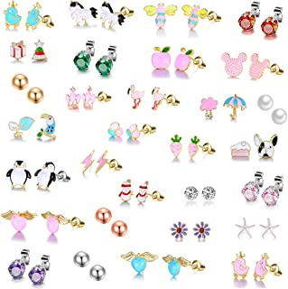 TAMHOO 30 Pairs Gold Plated Stainless Steel Post Small Cute Multiple Animal Faux Pearl Stud Earrings Set for Girls Kids