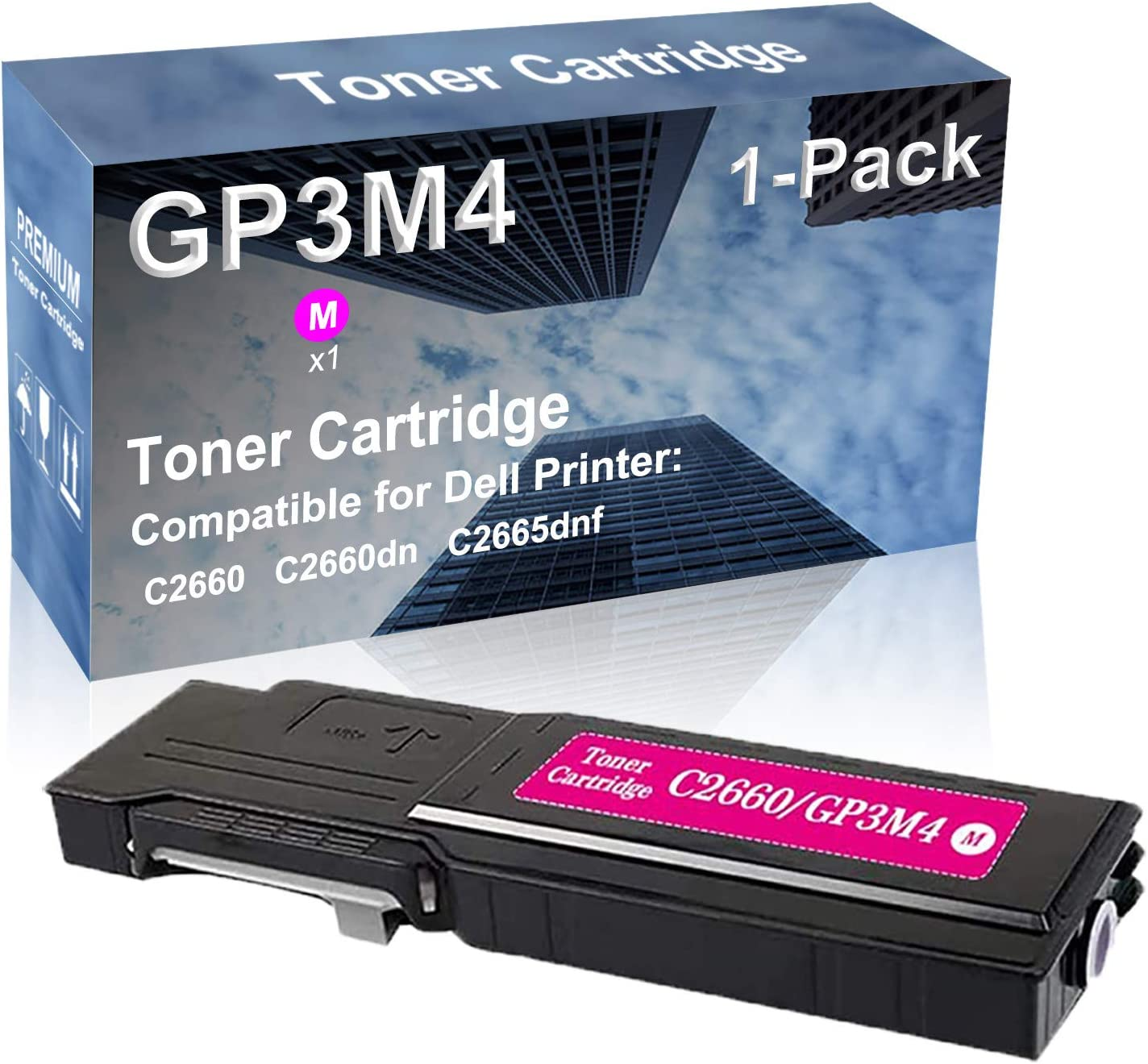 1-Pack (Magenta) Compatible High Yield R9PYX Laser Printer Toner Cartridge Used for Dell C2660 C2660dn C2665dnf Printer