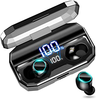 【令和モデル 最新Bluetooth5.0 イヤホン 120時間連続駆動】 Bluetooth イヤホン ワイヤレスイヤホン IPX7防水 自動ペアリング 自動電源ON/OFF 両耳 左右分離型 Hi-Fi高音質 3Dステレオサウンド 電池残量インジケーター付き 3500mAh大容量 軽量 Siri/AAC対応 CVC8.0ノイズキャンセリング 技適認証済 iPhone/iPad/Android対応