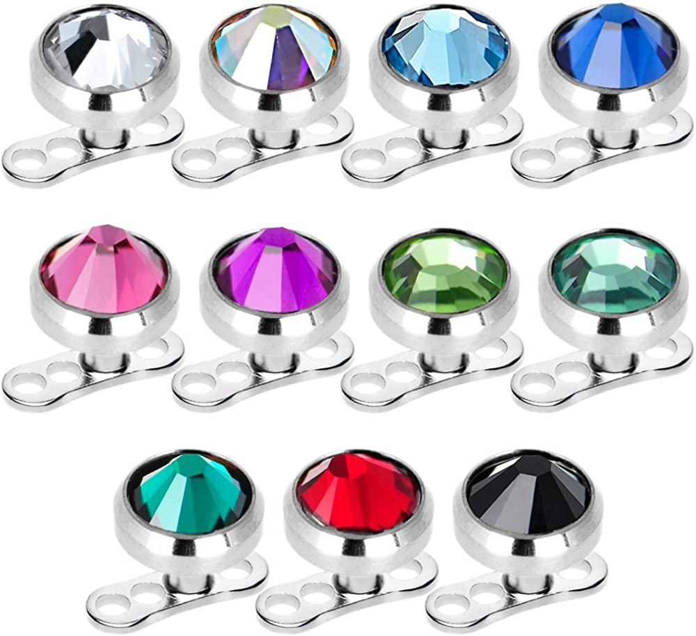 Dermal Anchors Tops and Bases Mix Colors 16g 4 mm CZ Surgical Steel 11pc
