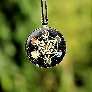 Black Tourmaline Orgone Pendant EMF Protection | Reiki Metatron's 7 Chakra Crystal | EMF Radiation Protection Orgonite Energy Pendant with Two Different Chains