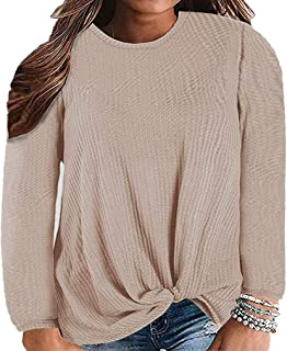 Feager Womens Plus Size Tops Twist Knot Waffle Knit Shirts Long Sleeve Tee Shirts Casual Blouse Tunic Tops