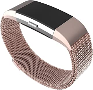 Maxjoy Compatible with Fitbit Charge 2 Bands, Charge2 Metal Band Stainless Steel Large Small Mesh Loop Wristband with Magnet Lock Compatible with Fitbit Charge 2 HR Tracker, Rose Gold