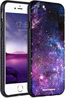 iPhone 8 Case, iPhone 7 Case, BENTOBEN Slim Hybrid Hard PC Soft TPU Bumper with Space Nebula Galaxy Stars Universe Pattern Design Shockproof Protective Phone Cases Cover for iPhone 7/8, Purple/Black