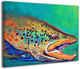 Clarissa Bertha Canvas Wall Art Prints Brook Trout Fly Fishing -Picture Paintings Contemporary Home Decoration Giclee Artwork-Wood Frame Gallery Wrapped 16