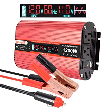 Car Power Inverter, imoli 1200W/2400W(Peak) DC 12V to AC 110V Converter Automotive Modified Sine Wave 3.1A USB 2 AC Outlets with LCD Digital Display