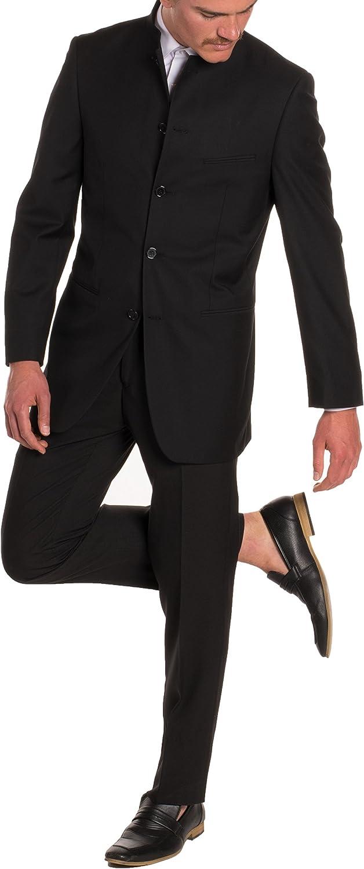 Ferrecci Mens Mandarin Collar Suit-Modern Fit-5 Button-Black-2 Piece