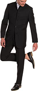 Mens Mandarin Collar Suit-Modern Fit-5 Button-Black-2 Piece