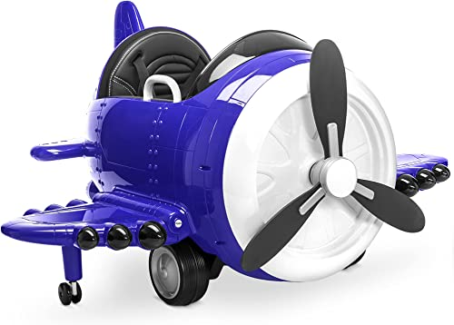 2021 Kidzone 12V Kids Toy Electric Ride On Aircraft 360 2021 Spin 3 Speed Airplane with Remote Control, USB Music, online sale Sound, EVA Tires, DIY Alphabet Stickers, ASTM-Certified, Blue online sale