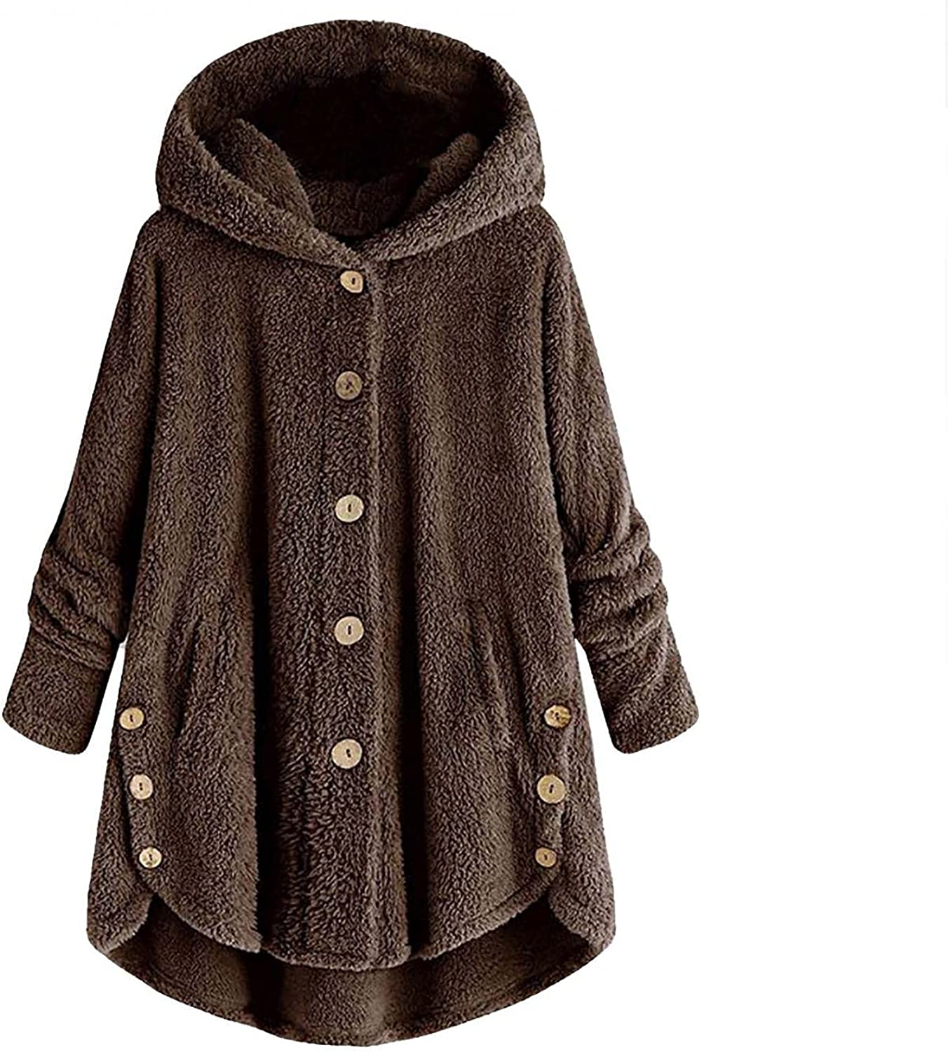 Women's Thick Fleece Jacket Button Coats Patchworl Top Hooded Pullover Loose Sweater Overcoat Plus Size Trench Outwear