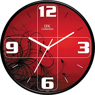 IIK COLLECTION Designer Analouge Round Wall Clock with Glass for Home/Kitchen/Living Room/Bed Room/Office, Size (28 cm x 28 cm x 6 cm) (IIK-745C-WC)
