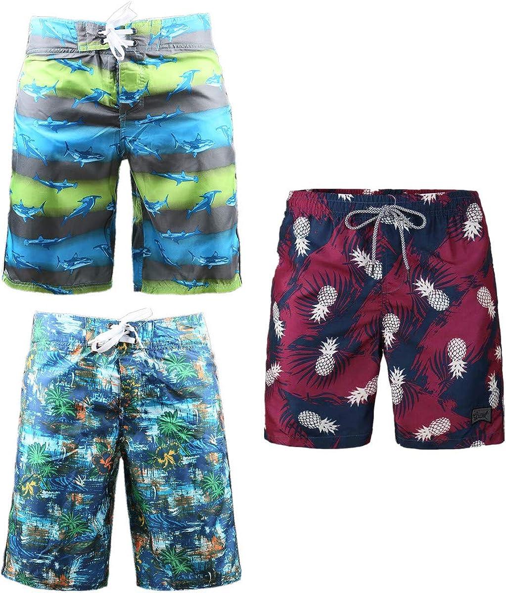 Beautiful Giant 3-Pack Men's Board Shorts Drawstring Summer Swimming Soft Comfy Breathable Swim Shorts