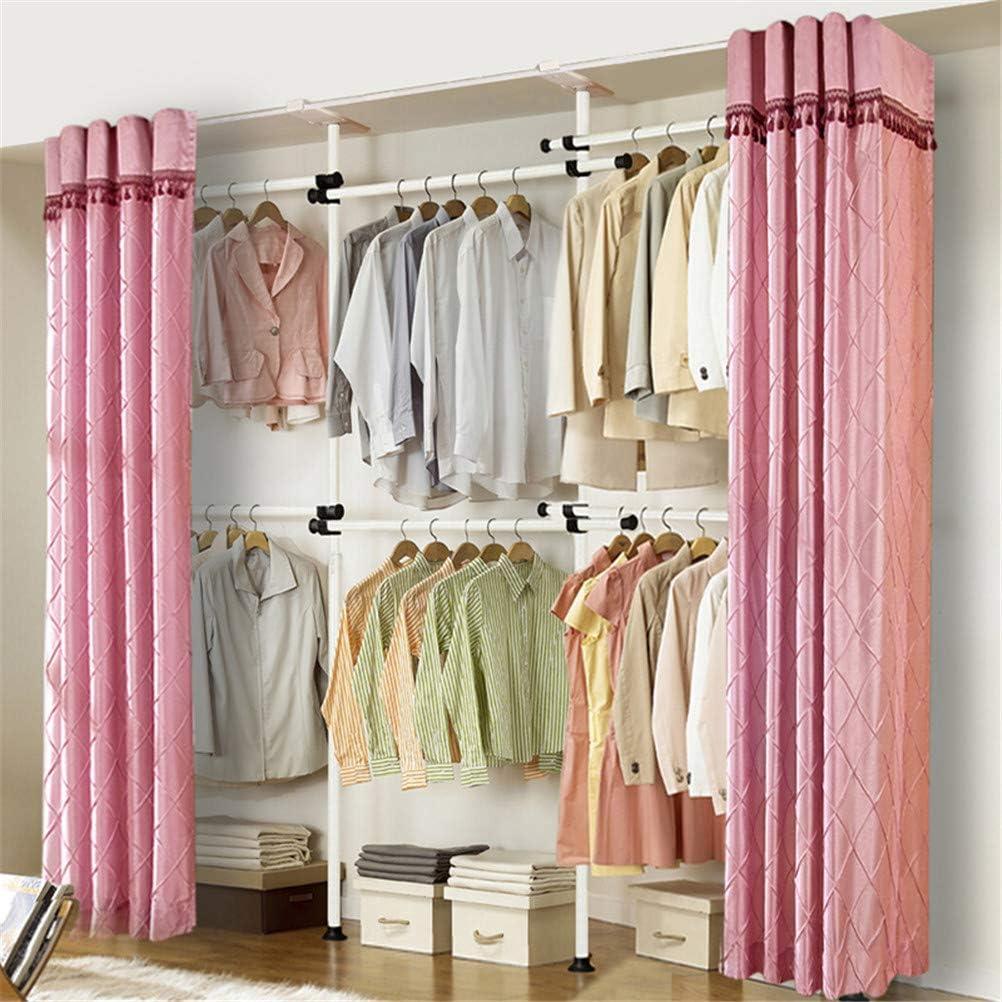 Amazon Com Telescopic Wardrobe Organizer Diy Shelf Hanger Holds Movable Hanging Rail Adjustable Rack With Dust Curtain Clothes Wardrobe 4 Poles 6 Bars Purple Kitchen Dining